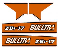 Bonnet decal sticker Kubota Bulltra B1-17